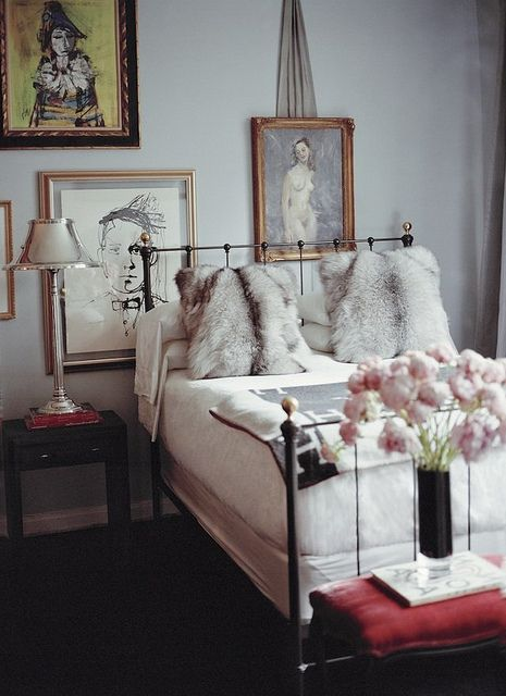 Ryan Korban {eclectic art deco vintage luxe modern bedroom} | Flickr - Photo Sharing!Faux Fur, Decor, Guestroom, Guest Room, Guest Bedrooms, Interiors, Fur Pillows, Beds Frames, Iron Beds