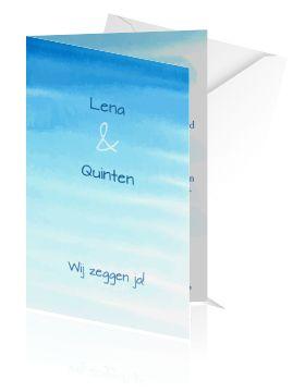 Originele trouwkaarten maken. Een strakke kaart in aquarel als huwelijksuitnodiging.