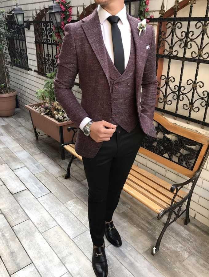 57f1a3e551392 Terziademaltun - İtalyan stil erkek ceket yelek pantolon bordo kombin takım  elbise T2741