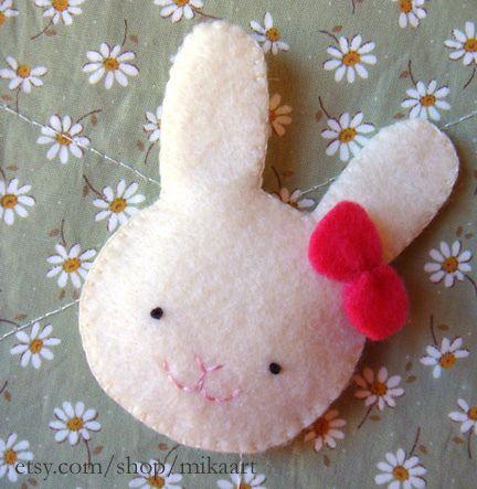 Bunny rabbit felt brooch | Flickr - Photo Sharing!