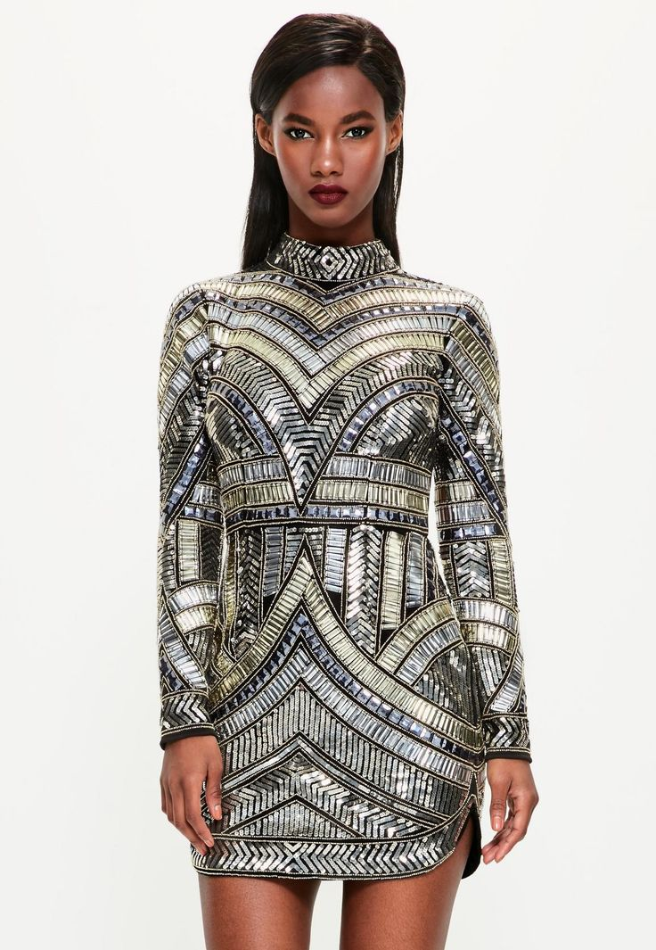 Missguided - Peace   Love Black High Neck Embellished Bodycon Dress