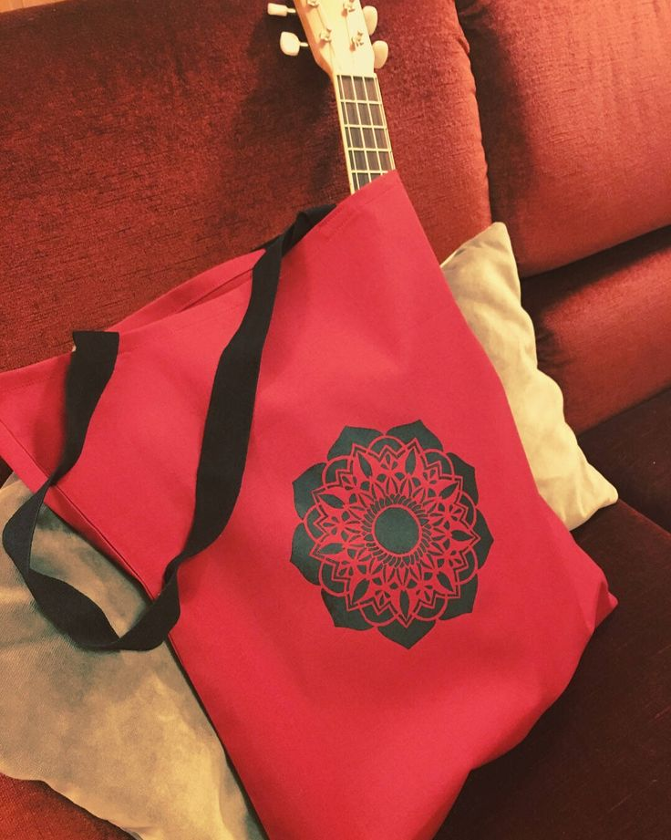 Excited to share the latest addition to my #etsy shop: Mandala tote bag, hand painted, shopping bag, red shoulder bag #bagsandpurses #red #birthday #christmas #black #mandala #zen #tote #bag