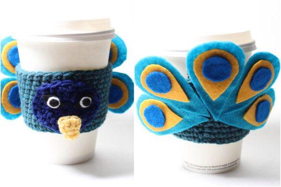 Peacock Coffee Cozy Crochet Animal Coffee Sleeve by MsAmandaJayne