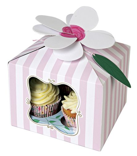 I'm a Princess Cupcake Boxes ~  A beautiful large cake box decorated with a pink stripe and ornamental window, finished with a clever flower fastener and leaf tag.  The inner tray is decorated with a floral pattern.  Pack contains 3 cupcake boxes and trays to hold 4 cupcakes £7.50