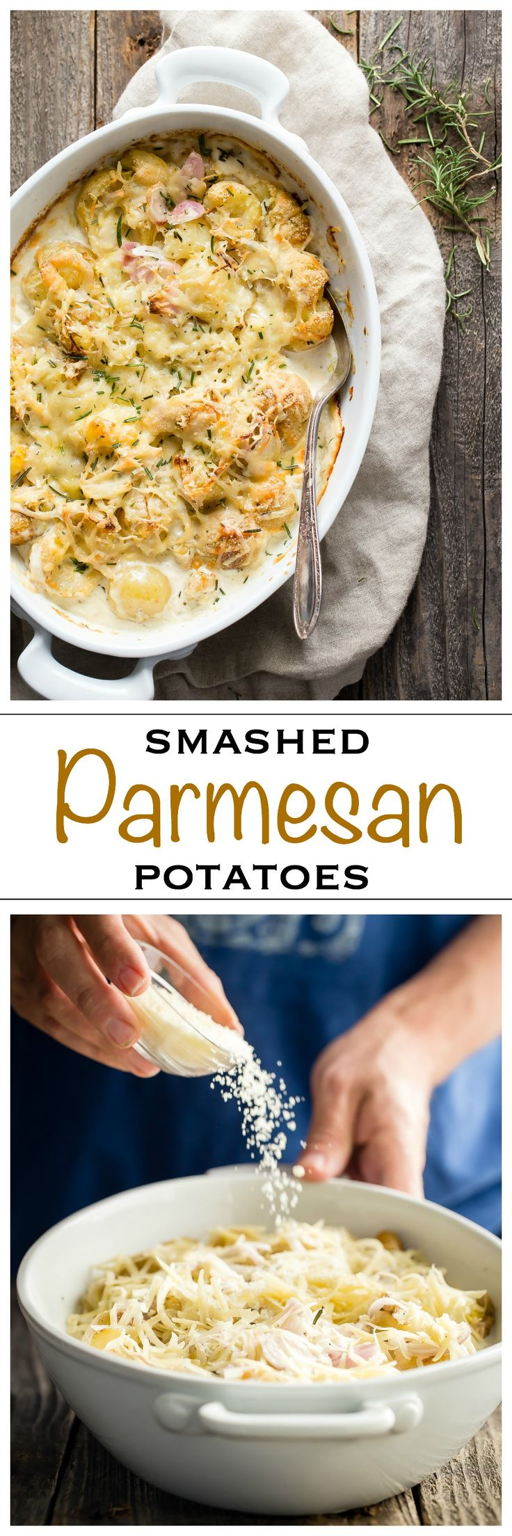 Creamy baby potatoes roasted and cooked in a garlic, shallot and rosemary sauce. Topped with a layer of Gruyere and Parmesan cheese for the perfect Thanksgiving side - Foodness Gracious