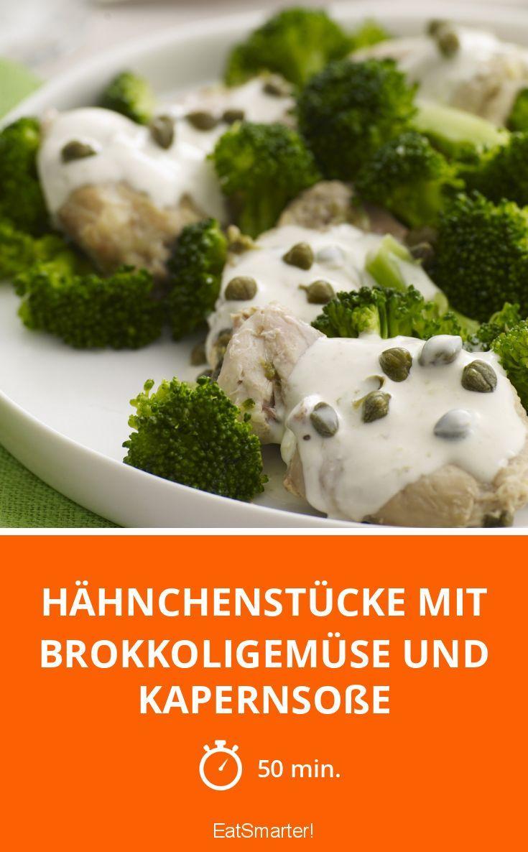Hähnchenstücke mit Brokkoligemüse und Kapernsoße