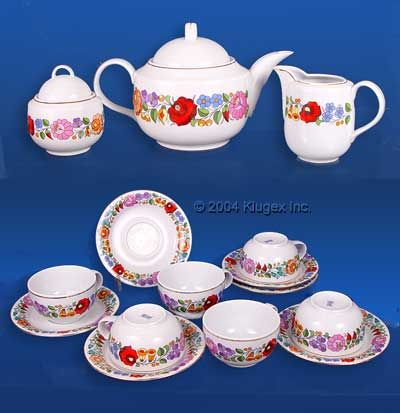 Hand-painted Hungarian Porcelain Tea Set For 6 By Kalocsa | klugex.com/collectibles