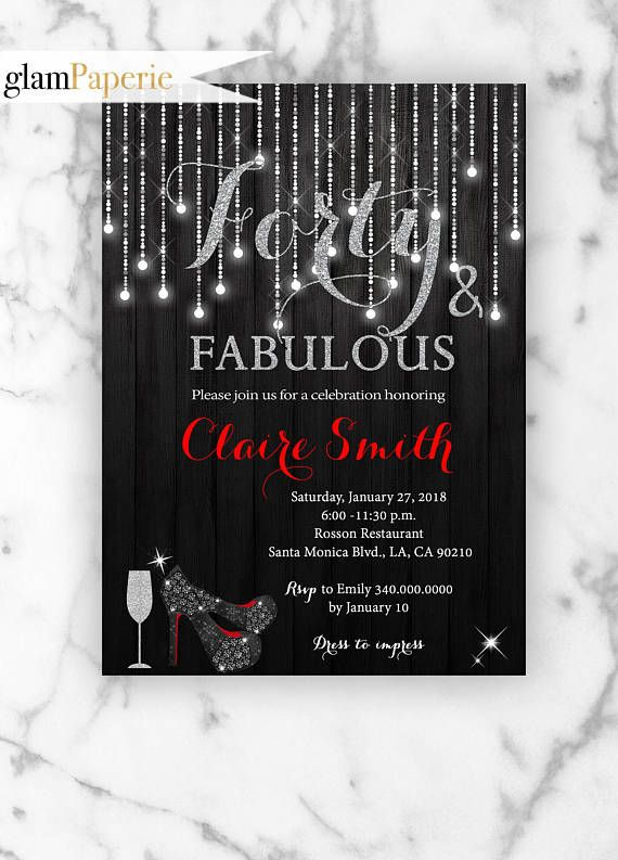 Silver and Red Forty Birthday Party Invitation  #red #silverinvitations  #heelshoes
