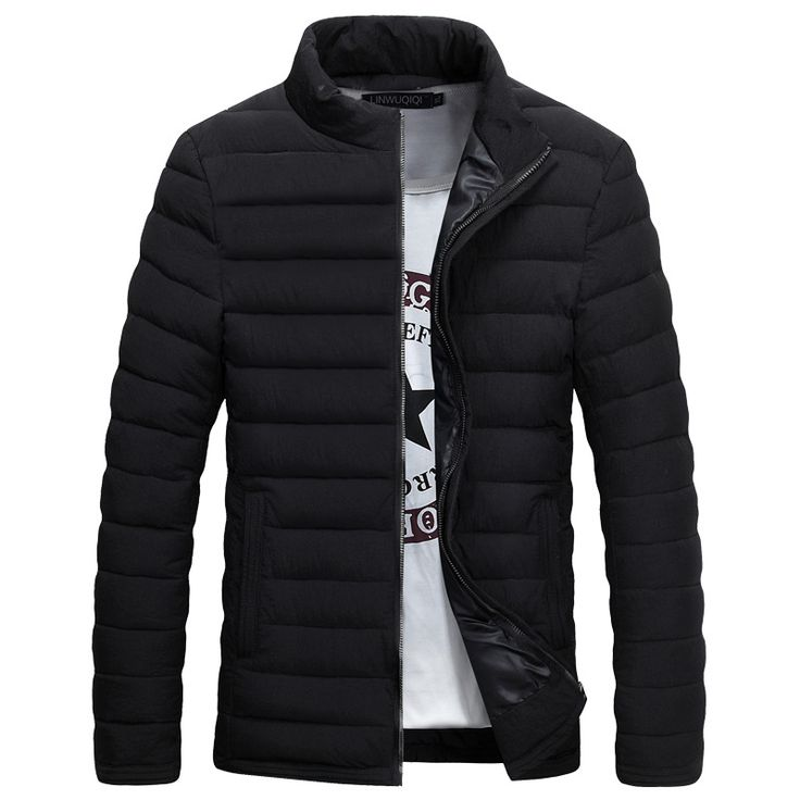 ==> [Free Shipping] Buy Best New Trend Black Winter Jacket Men Doudoune Homme Hiver 2017 Mens Fashion Slim Fit Stand Collar Slim Wave Cut Cotton Down Jacket Online with LOWEST Price | 32754613331