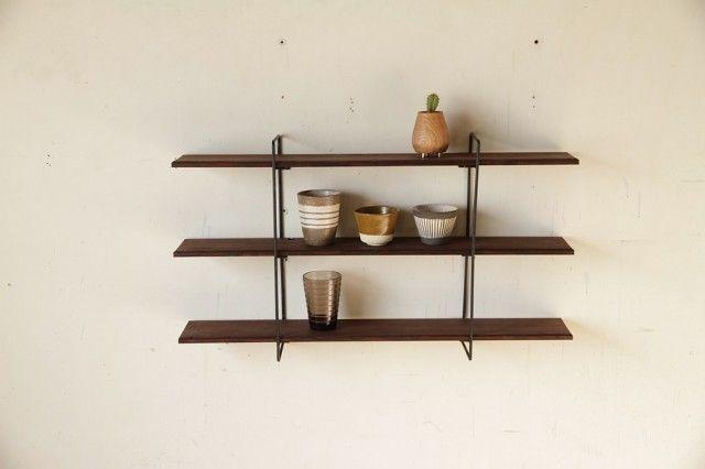 鉄の壁掛け棚 / アイアンウォールシェルフ / 棚板Lサイズ
