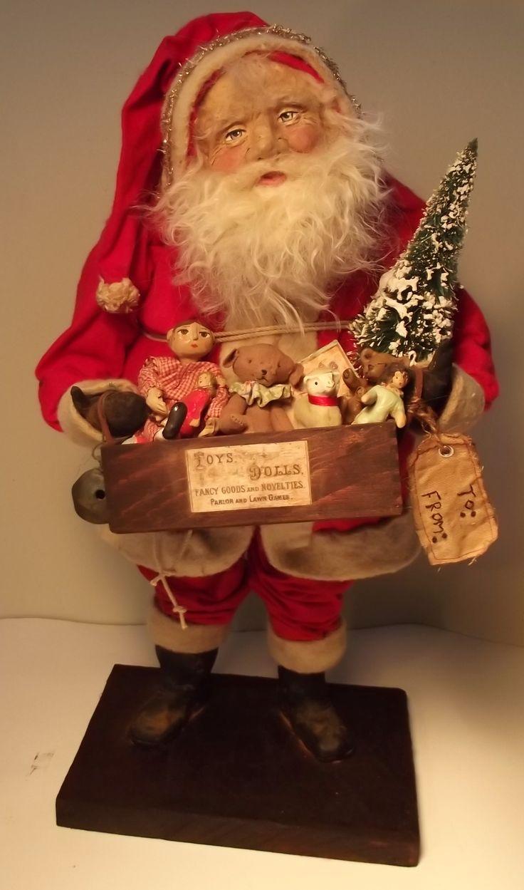 Handmade Santa Claus & Wooden Boxs Of Handmade ToyS By Kim SWeet~Kim's Klaus~Primitive Vintage Antique Christmas OoAk Art DoLL