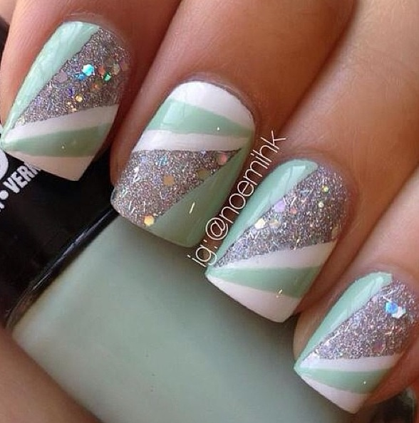 Mint nails with Glitter.