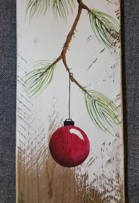 RED Hand painted Christmas decoration, GIFTS UNDER 25, Pine Branch with Red Bulb, Reclaimed barnwood, Pallet art, Shabby chic Original Acrylic painting on reclaimed barnwood boards. This unique piece is appx. 17 tall by 5 1/4 wide. It is a fun, personal touch to add to your Christmas decor or a great gift for teachers. The CHRISTMAS bulb can be ordered in any color!! All of my creations are made of reclaimed boards. They are hand painted and are made after they are ordered. Although I try…