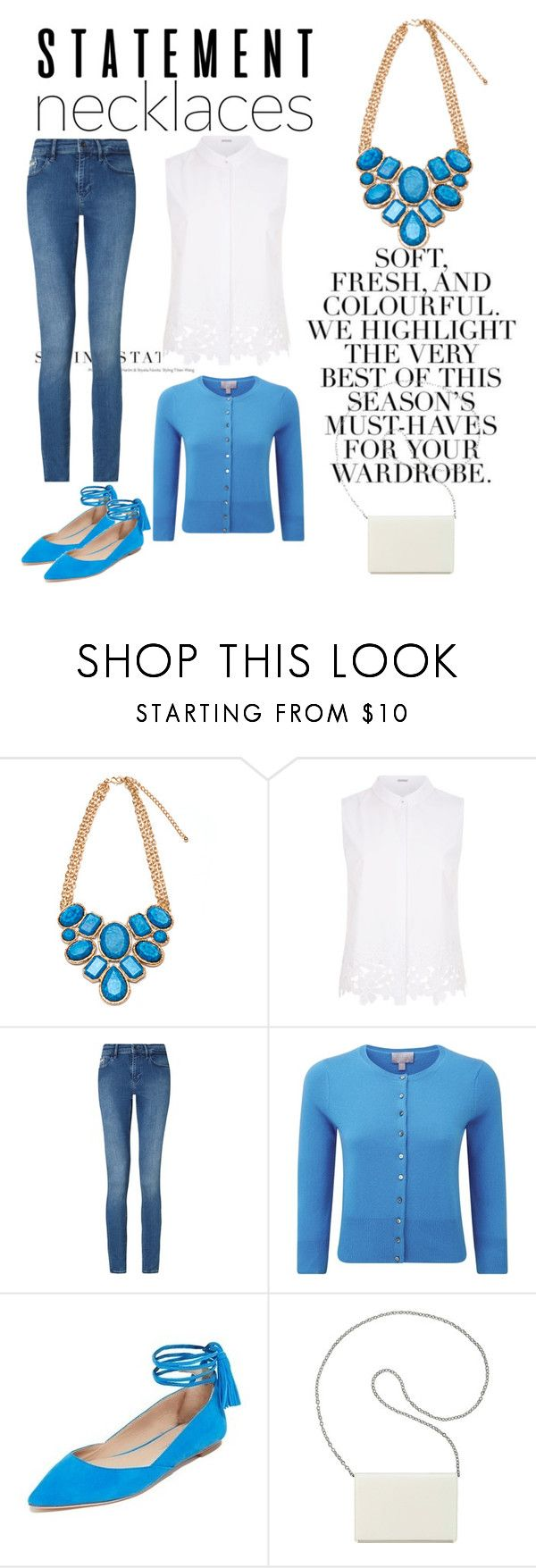 """""""Blue Statement Necklace"""" by lauralion88 ❤ liked on Polyvore featuring Folio, Elie Tahari, Calvin Klein, Loeffler Randall, Nine West and statementnecklaces"""