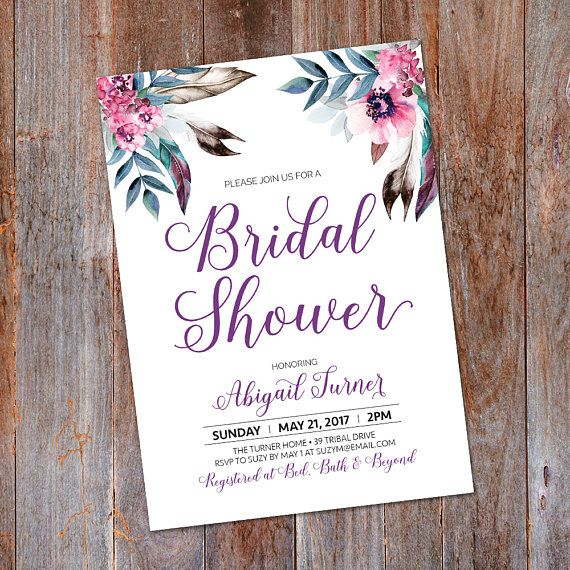 Boho Bridal Shower Invitation Boho Tribal by LMNDesignStudio