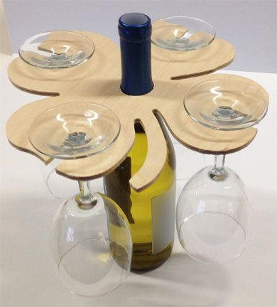 Wine glass caddy. Wine bottle decoration. Wine by DWRogersSales, $9.00