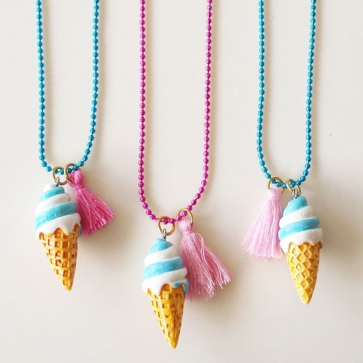 Girls Ice Cream Necklace with Tassel and color chain, Girls jewelry, Party gifts, Spring Necklace, Worldwide Shipping by GlowHandmade on Etsy