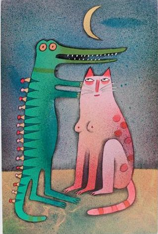 "Illustration by Adolf Born (born 1930), ""Night romance""."