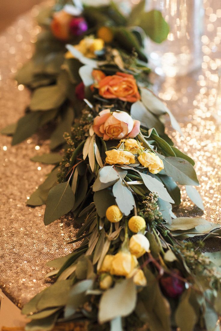 Reception Bride Groom Table Fresh Multicoloured Florals Greenery Metallic Sequin Tablecloth Whimsical Forest Harry Potter Wedding http://heatherelizabethphotography.com/