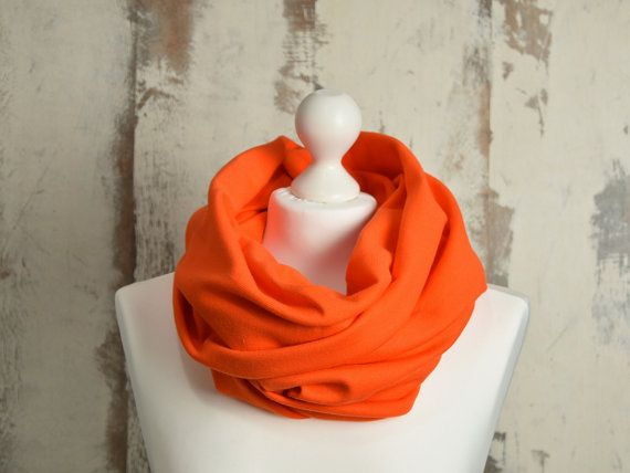 #Spring #Infinity #Scarf with Raw Edges, #Double-sided, #orangeSnood, #Unisex #DoubleLoopShawl