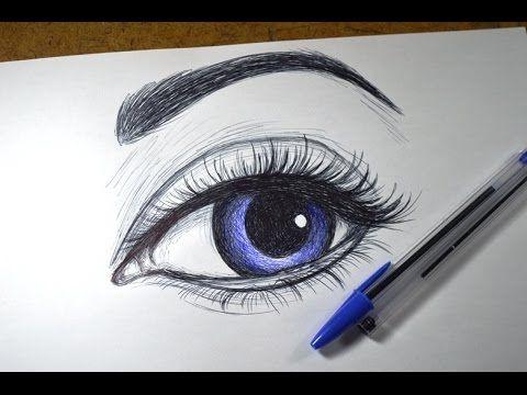 Como desenhar Olho realista simples com Caneta - YouTube