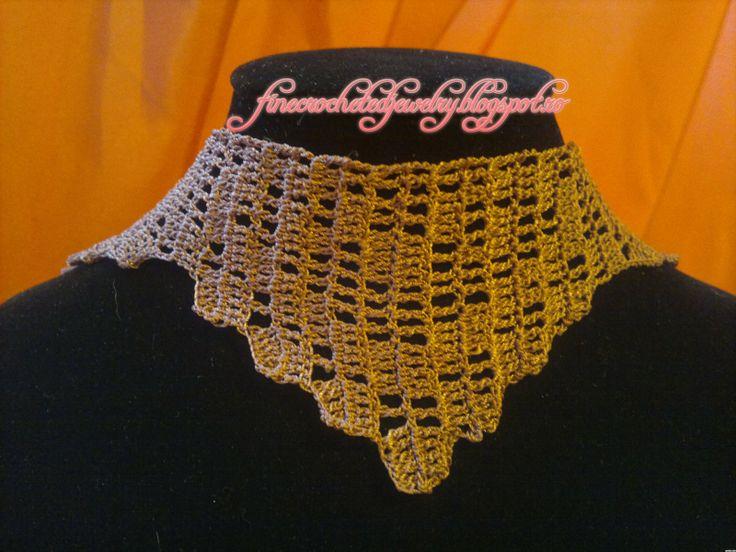Crochet filigree necklace www.finecrochetedjewelry.blogspot.ro