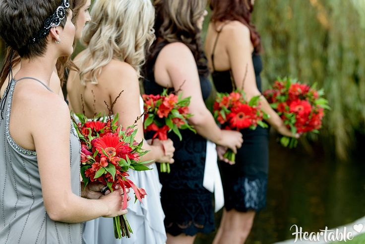 Black and grey bridesmaids dresses, red flowers, garden wedding-heartable.co.za