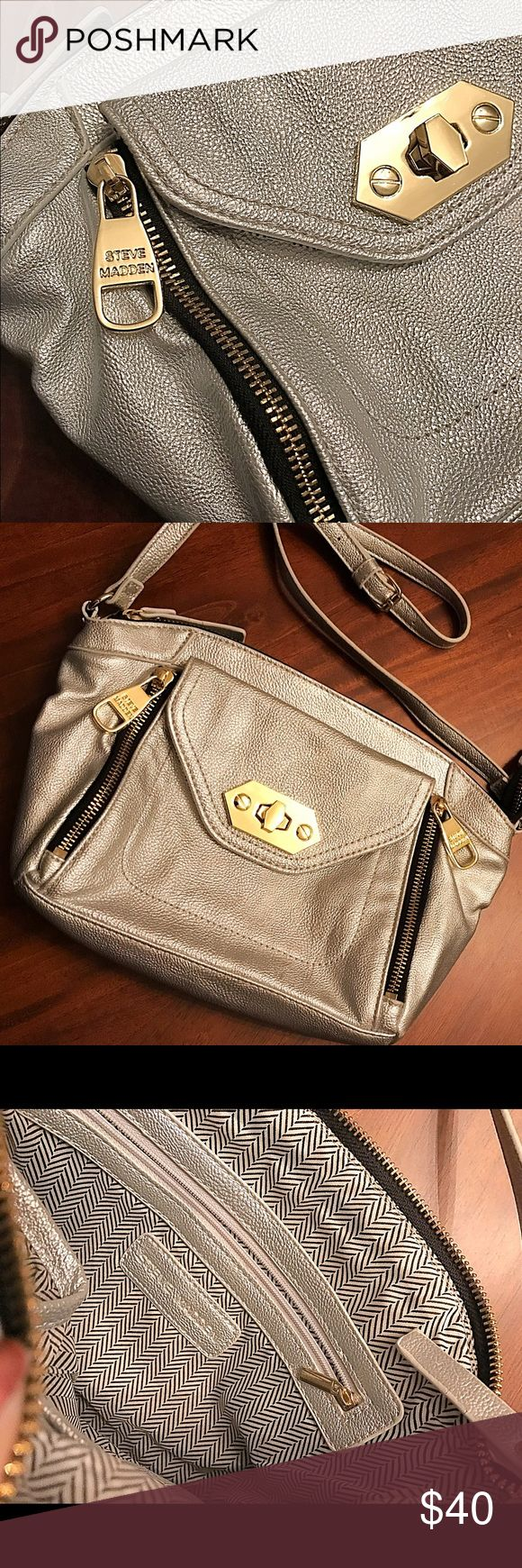 Steve Madden Silver Small Purse Cute small silver clutch with long strap, never used! Steve Madden Bags Mini Bags