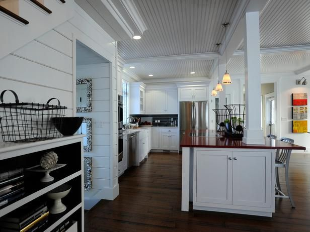 Shaker Kitchen Cabinets Pictures Ideas Tips From Hgtv: Again, Too Much White But Love The Open Feel=Kitchen