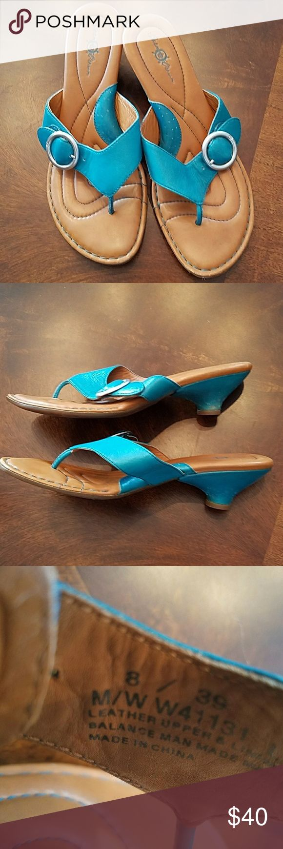 Born BOC sandals leather Teal, cute heels and silver buckle Born Shoes Sandals