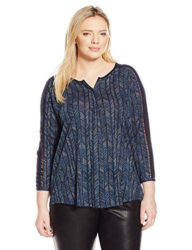 Lucky Brand Women's Plus-Size Modern Herringbone Shirt, Blue/Multi, Large - http://best-women-shop.xyz/2016/06/22/lucky-brand-womens-plus-size-modern-herringbone-shirt-bluemulti-large/