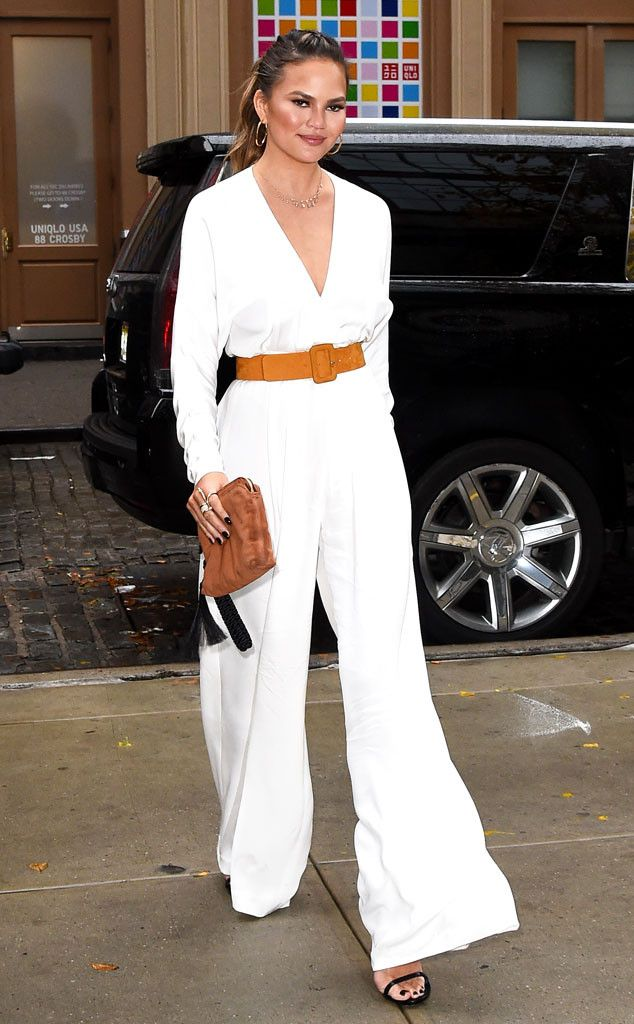 Chrissy Teigen from The Big Picture: Today's Hot Pics  City chic! The model and foodie looks great in a white jumpsuit around town in NYC.