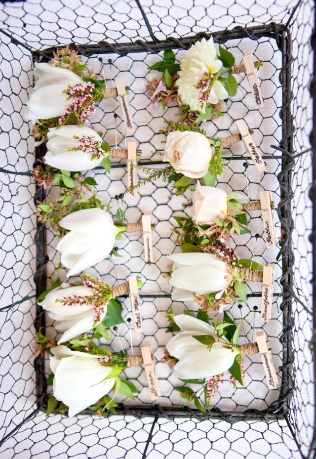 Garden Rose and Tulip boutonnieres displayed in a chickenwire basket. | by Gavita Flora