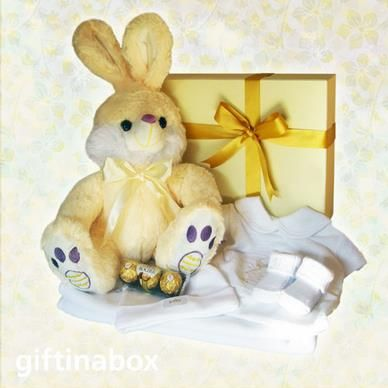 Congratulations to the new family arrival! A beautiful all white gift hamper to welcome the new baby. Presented in an elegant cream box with yellow ribbons and bows.   Fluffy white bunny White polar embroidered receiving blanket White embroidered baby grow with collar White embroidered baby bib White embroidered baby booties Ferrero Rocher chocolate trio for parents