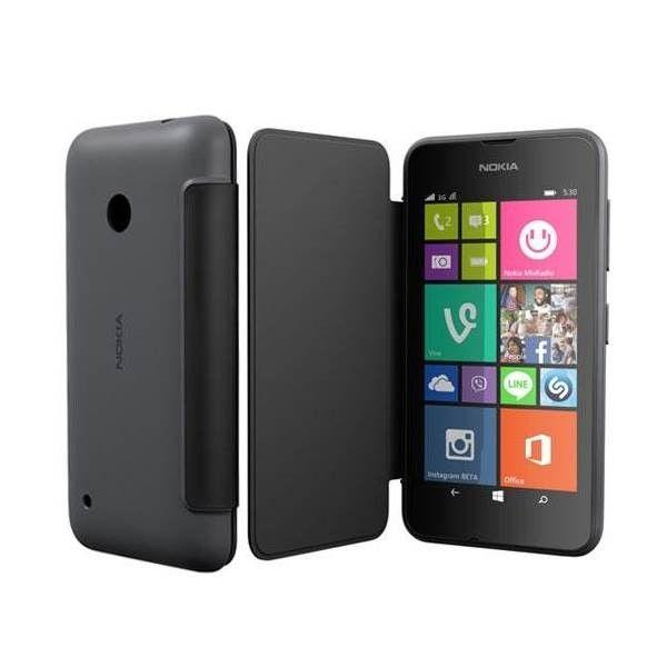 Oryginalne etui typu flip case do smartfona Nokia Lumia 530. Wykonana z wysokiej jakości materiałów, wytrzymała osłona na tył urządzenia połączona z okładką ochronią całe urządzenie.  Produkt w kolorze szarym.