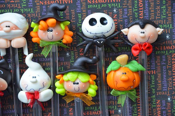 Pack of 10 Halloween Black Pens Cute Polymer by MonPetitPapier