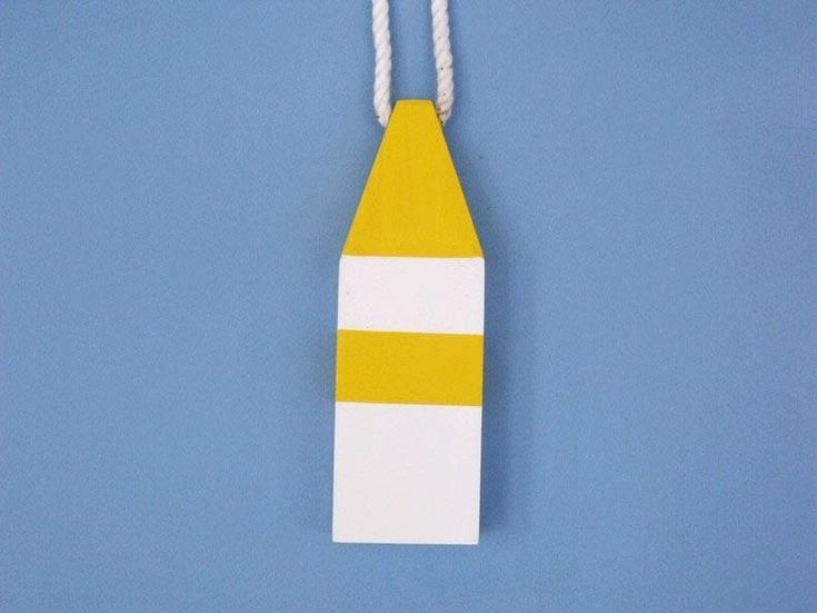 """Handcrafted Model Ships Yellow-MD-8 Wooden Yellow Maryland Crab Trap Buoy 8"""""""