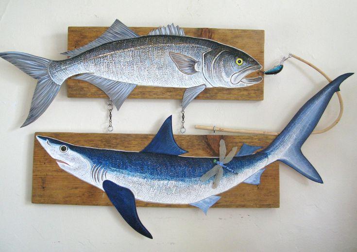 Requin bleu et Bluefish peinture acrylique sur par FishPondArts