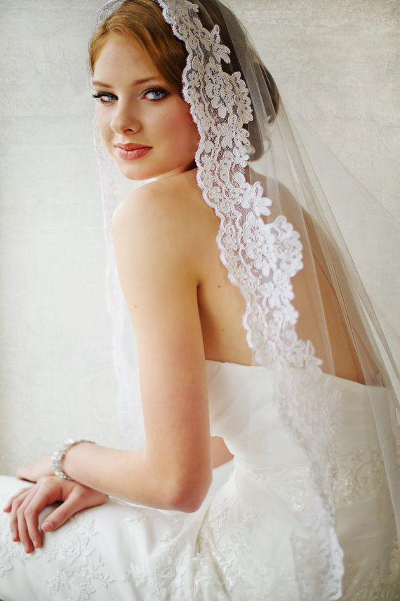 Bridal Veil Traditional Veil  Mantilla by PowderBlueBijoux on Etsy, $170.00