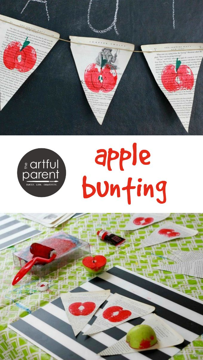 Celebrate Autumn with this simple DIY apple bunting! This project combines an apple printing craft for kids on old book pages as a fun fall decoration.