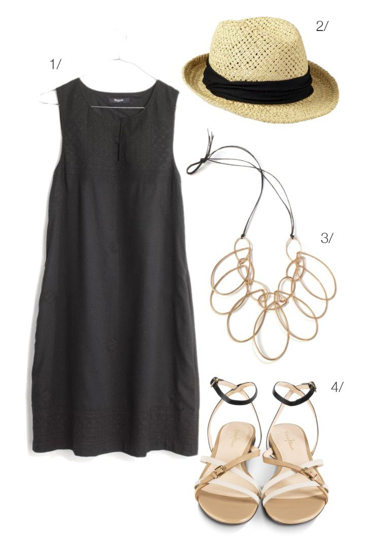 easy summer style: casual little black dress, statement necklace, sandals // via megan auman