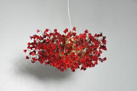 Fiori rossi di appendere lampadari per sala da pranzo, salotto, ufficio o camera da letto.