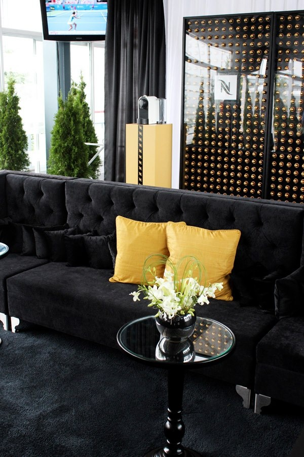 Nespresso Lodge :: Rogers Cup 2012 ∼ Event Planner Gloria Meti Couture Events ∼  Lounge set-up by Joe's Prop House featuring  the Black Glam Sectional Sofa and the Black Round City Pedestal End Tables www.joesprophouse.com