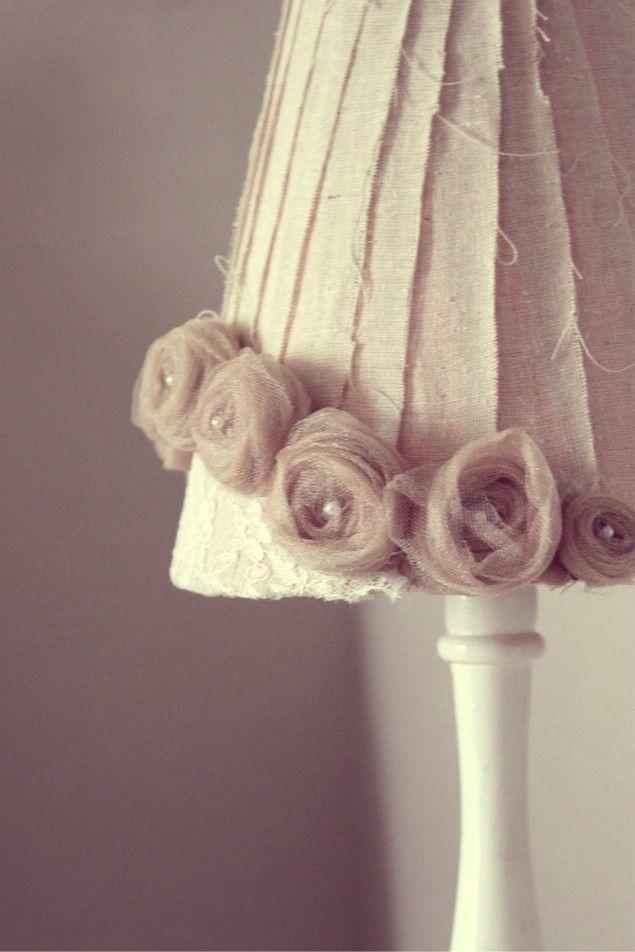 handmade lampshade using canvas strips, tulle and a glue gun #DIY #handmade #reupholster