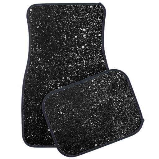 Black Diamond Bling Sparkle Print Car Mat