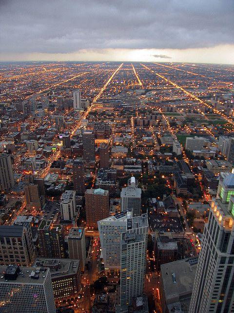 Chicago, Illinois mooie luchtfoto van chicago waarop je zo gaaf ziet hoe recht die straten lopen