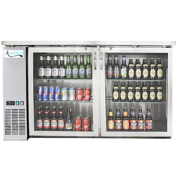 Avantco Ubb 60g Hc S 60 Stainless Steel Counter Height Narrow Glass Door Back Bar Refrigerator With Led Lighting Bar Refrigerator Stainless Steel Counters Glass Door