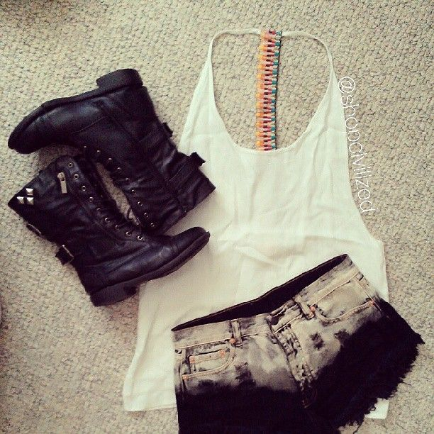 1000+ Images About Style On Pinterest | White Lace Dresses Black Boots And White Tank Tops