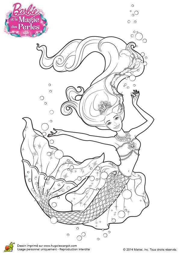 Dessin à colorier de la Barbie des perles qui danse dans l'Océan