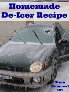 It is easy to make homemade de-icer that you can use for helping to clean off your car on snowy mornings.  Note this recipe is not the same thing as an